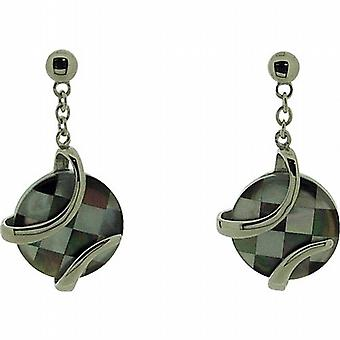 TOC Sterling Silver Mother Of Pearl Chequerboard Effect Drop Earrings