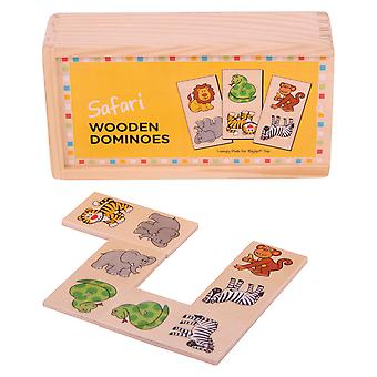 Bigjigs speelgoed houten traditionele Safari Domino's Matching Game