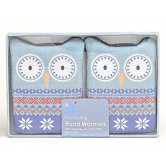Fair Isle Animal Click & Heat Gel Hand Warmers (Pair): Owl