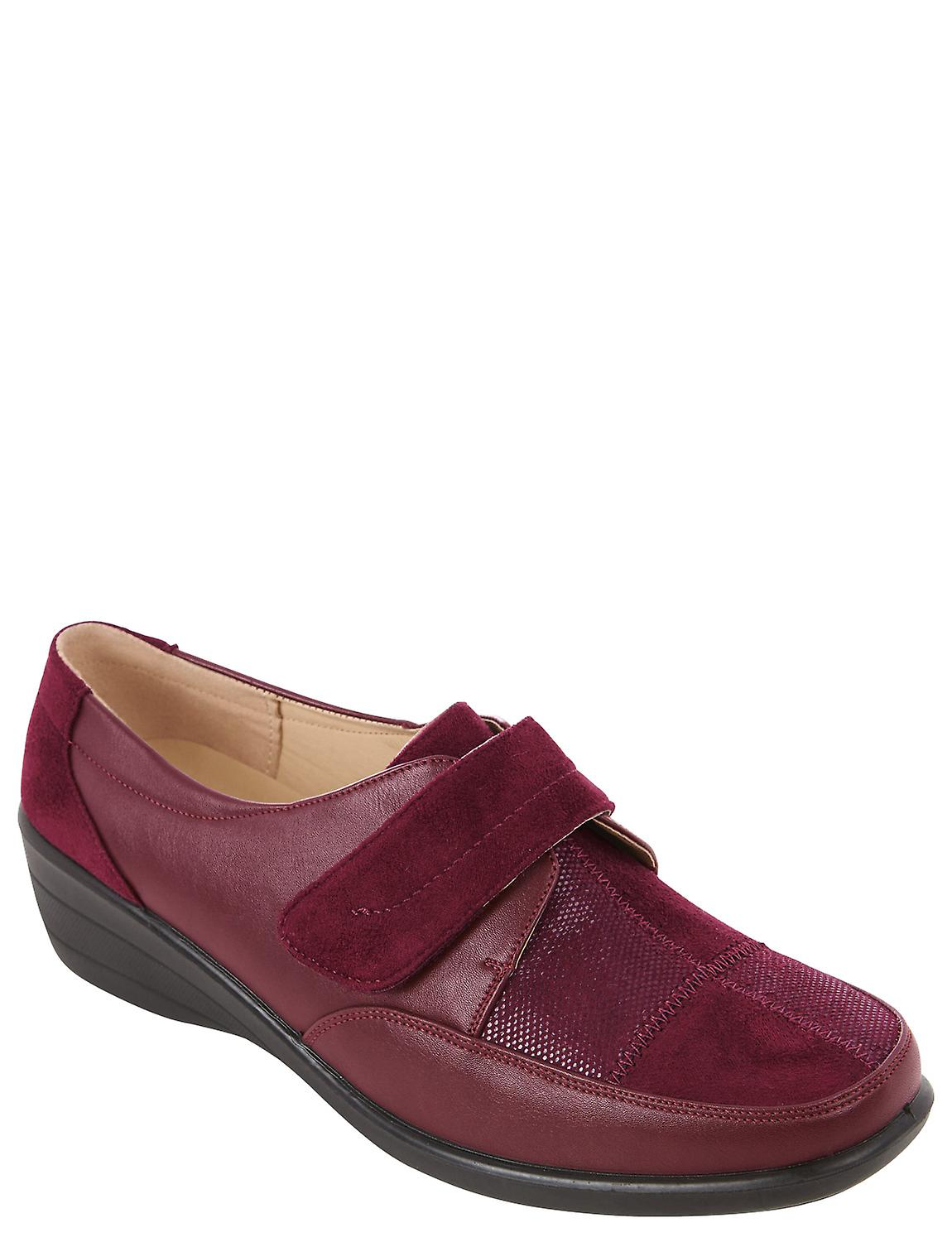 Ladies Womens Mock Suede Leather Touch and Close Strap Shoe Veronica