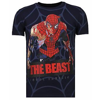The Beast Spider-Rhinestone T-shirt-Navy