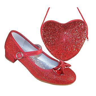 Girls red sparkly heeled shoes with red heart bag