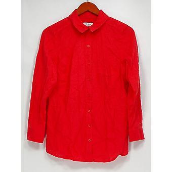 Denim & Co. Petite Top SP Linen Blend Long Sleeve Tunic Dark Pink A290194