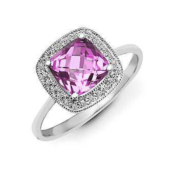 Jewelco London 9ct White Gold Pave Set H I1 0.07ct Diamond and Cushion Purple 1.45ct Amethyst Halo Cluster Ring 10mm