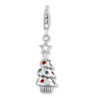 925 Sterling Silver Rhodium plaqué Fancy Lobster Closure Rhodium Plated Multi Glass Stone Tree With Lobster Clasp Charm