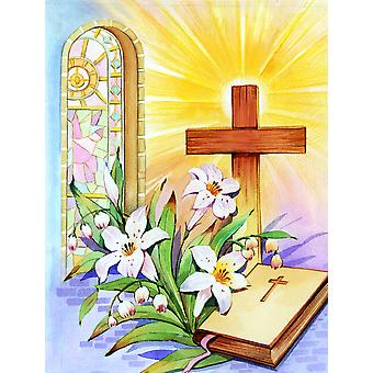 Easter Cross and Bible in Stain Glass Window Flag Garden Size APH5433GF