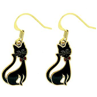Fine Enamels Black Cat with Bowtie Earrings