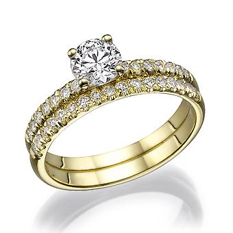 Beautiful 1.32ct White Sapphire and Diamonds Ring Yellow Gold 14K