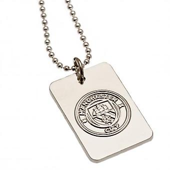 Manchester City Silver Plated Dog Tag & Chain