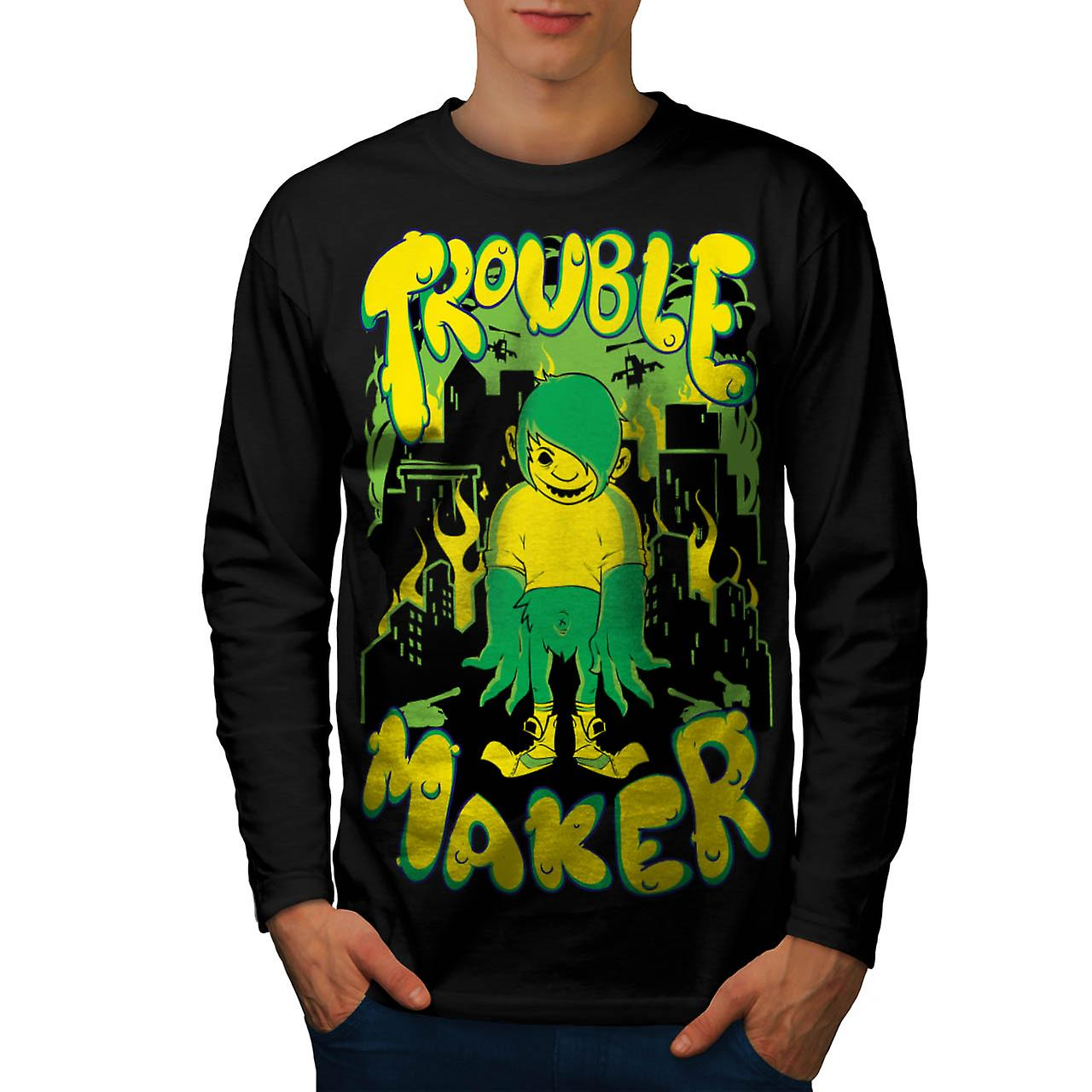 Trouble Maker Youth Chaos Problem Men Black Long Sleeve T-shirt | Wellcoda