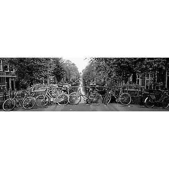 Bicycles On Bridge Over Canal Amsterdam Netherlands Poster Print