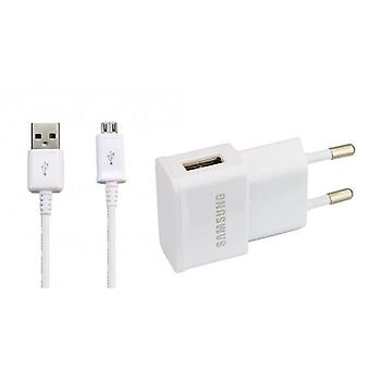 Original Samsung 1A power supply adapter ETA0U 83EWE with charging cable, Galaxy A3 A5 S3 S4 - white
