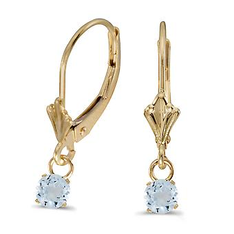 10k Yellow Gold 5mm Round Genuine Aquamarine Lever-back Earrings