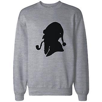 Consulting Detective Santa Silhouette Funny Sweatshirt Christmas Pullover Fleece