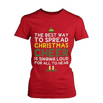 Best Way to Spread Christmas Cheer Holiday Graphic Tee -Red Cotton T-Shirt