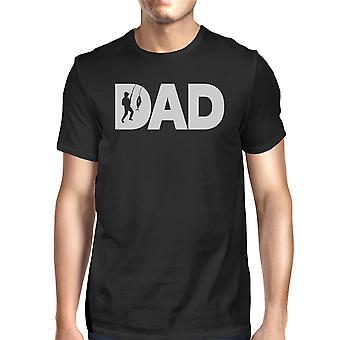 Dad Fish Mens Black Round Neck Tee Funny Graphic Design Top For Dad