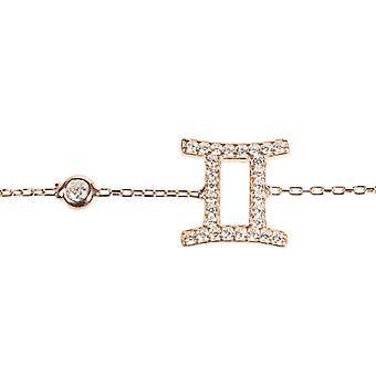 Latelita Zodiac Gemini Sterling Silver Bracelet Star Sign Astrology Rose Gold CZ