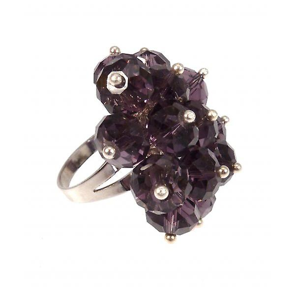 W.A.T Purple Crystal Bead Cluster Ring