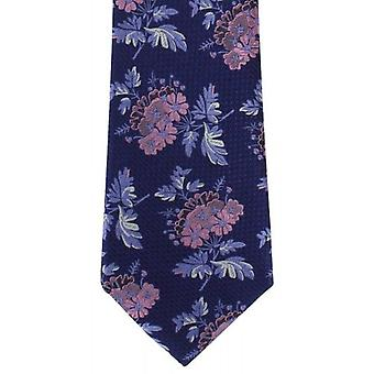Michelsons of London Textured Bold Floral Silk Tie - Blue