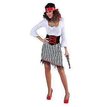 Kvinder kostumer kvinder pirat dame hvid/sort stribet
