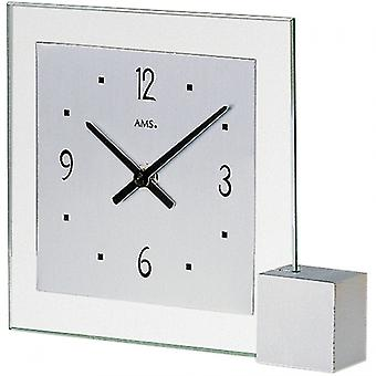 Table clock modern quartz quartz watch of silver-coloured wood base