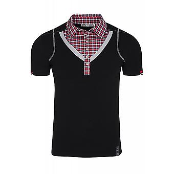 RUSTY NEAL collar shirt men's T-Shirt black combined