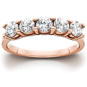 1 cttw 5-Stone Round Cut Diamond Wedding Anniversary Ring 14K Rose Gold