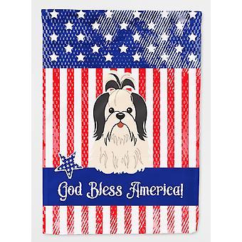 Patriotiske USA Shih Tzu svart hvitt flagg hage størrelse