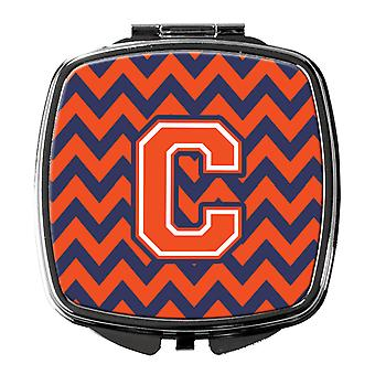 Carolines Treasures  CJ1042-CSCM Letter C Chevron Orange and Blue Compact Mirror