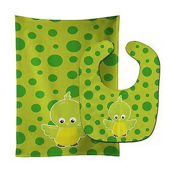 Carolines schatten BB7012STBU vogel op groene Polkadots Baby Slabbetje & Burp doek