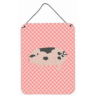 Gloucester Old Spot Pig Pink Check Wall or Door Hanging Prints