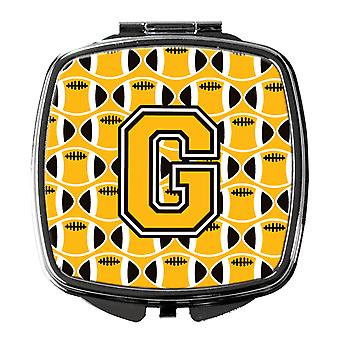 Letter G Football Black, Old Gold and White Compact Mirror
