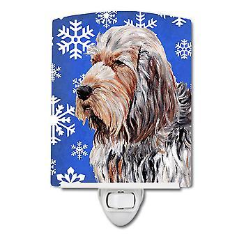 Carolines Treasures  SC9780CNL Otterhound Winter Snowflakes Ceramic Night Light