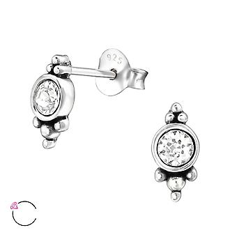 Round crystal from Swarovski® - 925 Sterling Silver Ear Studs