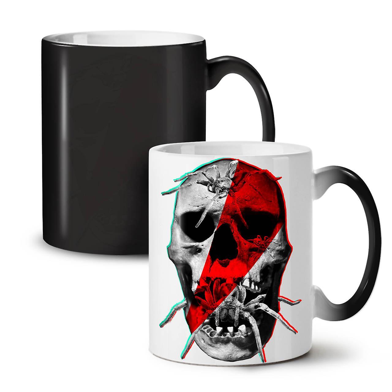 Tasse 11 Noir Thé Café Nouveau Changeant Céramique OzWellcoda Squelette Coloris Araignée Crâne xdCstQrh