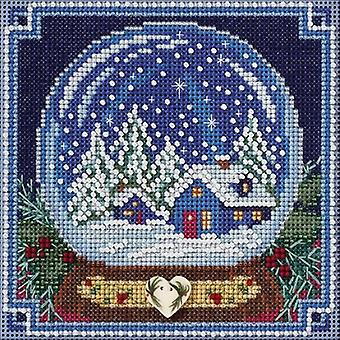 Snow Globe Buttons & Beads Counted Cross Stitch Kit-5