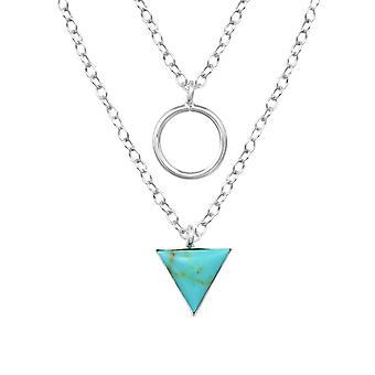 Geometriska lager halsband - 925 Sterling Silver Jewelled halsband - W33015x