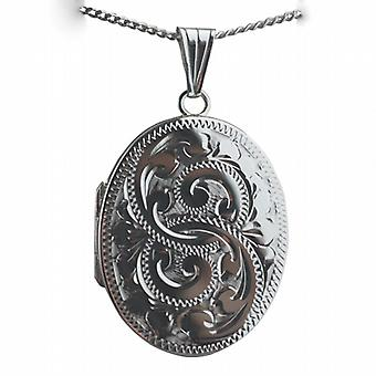 Silver 30x24mm hand engraved flat oval Locket with a curb Chain 24 inches