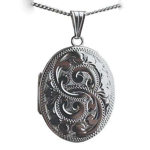 Silver 30x24mm hand engraved flat oval Locket with a Curb chain