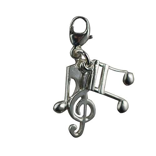 Three Silver 12x5mm Musical Notes Charms on a lobster trigger