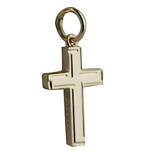9ct Gold 17x10mm line border solid block Cross