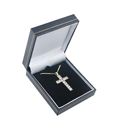 9ct Gold 34x21mm Apostle's Cross set with 12 Cubic Zirconia with a curb Chain 16 inches Only Suitable for Children
