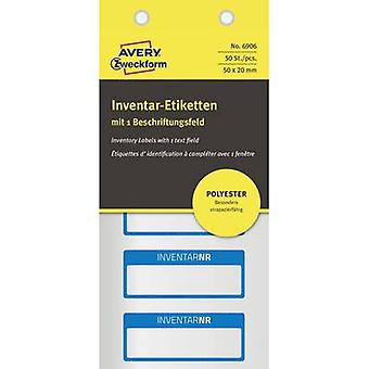 Avery-Zweckform 6906 Labels (hand writable) 50 x 20 mm Polyester film Silver, Blue 50 pc(s) Permanent Stock labels Hand