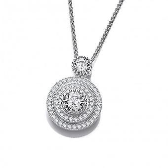 Cavendish French Elegant Silver and Cubic Zirconia Pendant with 16-18