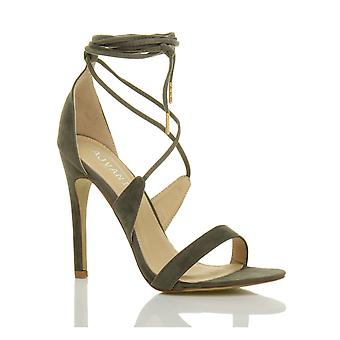 Ajvani womens high heel barely there strappy lace tie up sandals shoes