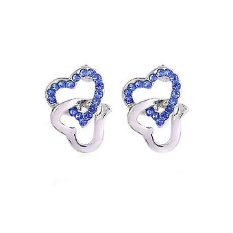 Womens Silver Tone Stud Earrings Dark Blue Stones Chained Heart Diamante