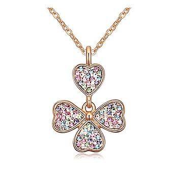 Gold Four Leaf Clover Pendant Necklace Encrusted Colourful Crystal Stones Womens