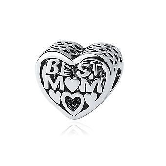 Best mum heart Bead charms