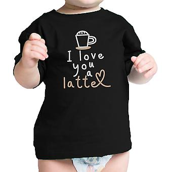 Love A Latte Infant Gift Tee Shirt Black