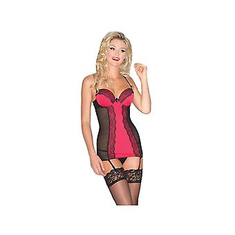 Be Wicked BW1532 2-PC sheer Chemise with Red satin & black lace center panel